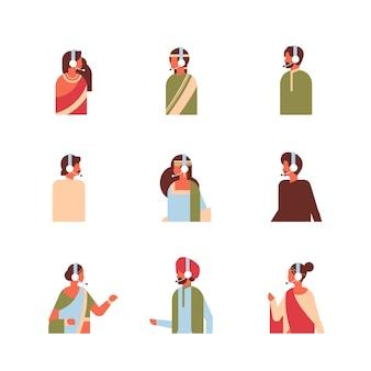 Set different indian man woman headphones avatar call center online service support