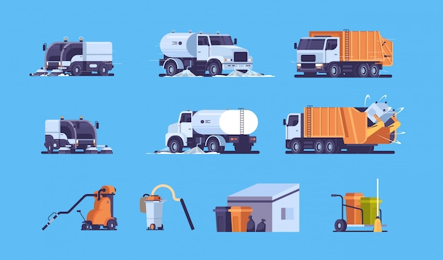 Set different industrial heavy transport and equipment