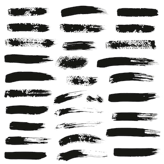 Set of different ink brush strokes