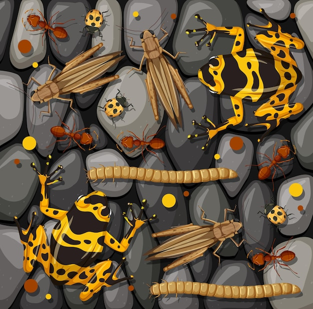 Set of different insects isolated on stones texture