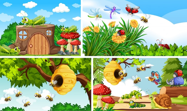 Set di diversi insetti che vivono sullo sfondo del giardino