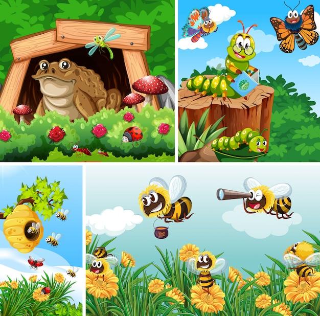 Insieme di diversi insetti che vivono sullo sfondo del giardino