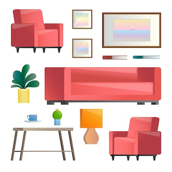Set of different interior elements. living room.  illustration in  style.