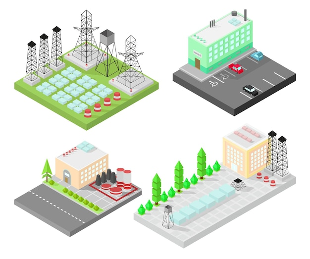 Set of different  isometric buildings. electric power station with power poles and batteries.  road, green bushes in front of house.