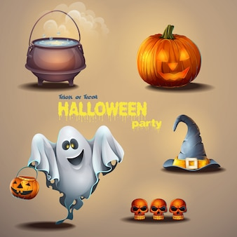 Set of different items for the holiday halloween, as well as a cute ghost