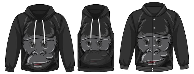 Set of different jackets with gorilla template