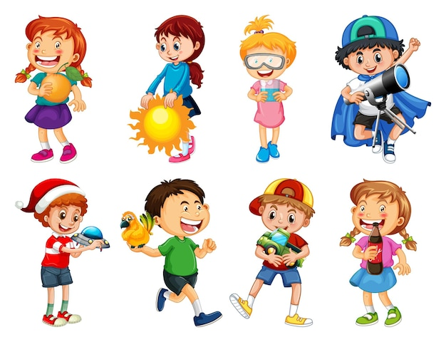 Set of different kid playing with their toys cartoon character isolated on white background