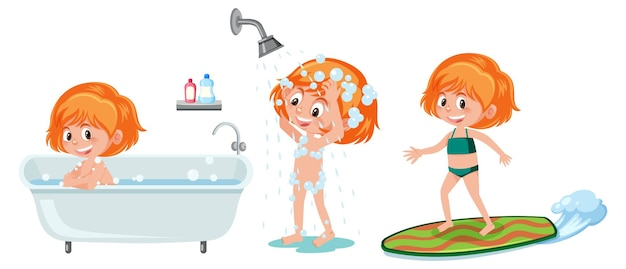 Set of different kids cartoon character take a shower