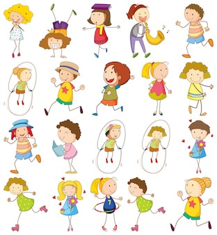 Set of different kids in doodle style