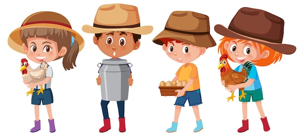 Set of different kids holding farm element cartoon character