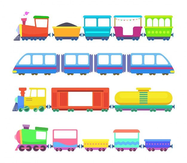Set of different kids trains.