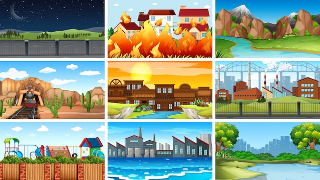 Set of different landscape background