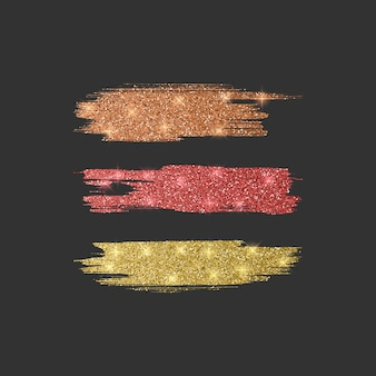 Set of different line brushes. glitter brush collection of orange, red and golden colors,   illustration