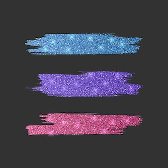 Set of different line brushes. glitter brush collection of pink, blue and purple colors,   illustration