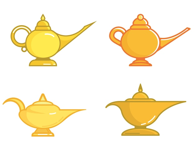 Set of different magic lamps isolated on white