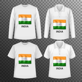 Set of different male shirts with india flag screen on shirts isolated