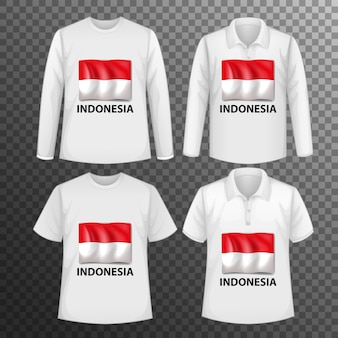 Set of different male shirts with indonesia flag screen on shirts isolated