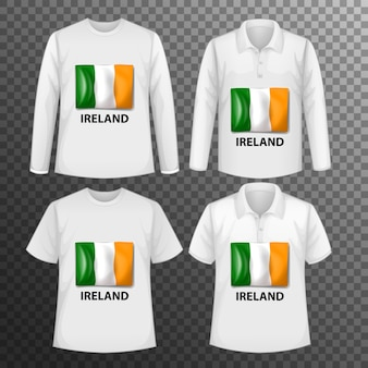 Set of different male shirts with ireland flag screen on shirts isolated