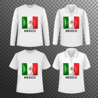 Set of different male shirts with mexico flag screen on shirts isolated