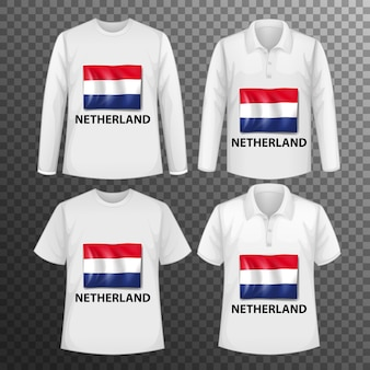 Set of different male shirts with netherland flag screen on shirts isolated