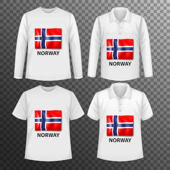 Set of different male shirts with norway flag screen on shirts isolated