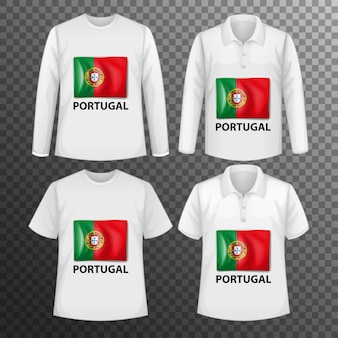 Set of different male shirts with portugal flag screen on shirts isolated