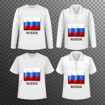 Set of different male shirts with russia flag screen on shirts isolated
