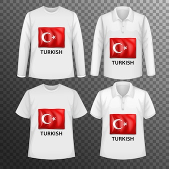 Set of different male shirts with turkish flag screen on shirts isolated