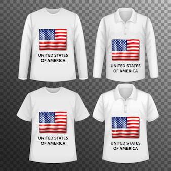 Set of different male shirts with united states of america flag screen on shirts isolated