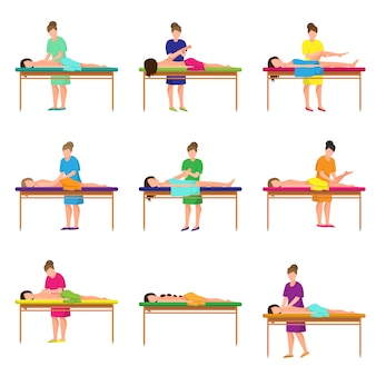 Set of different massage at city studio at soft bed