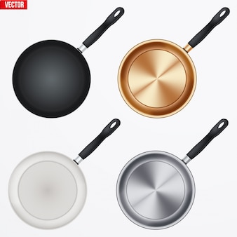 A set of different material frypans