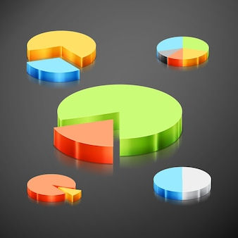 Set of different metallic pie charts. every pie chart, infographics pie chart