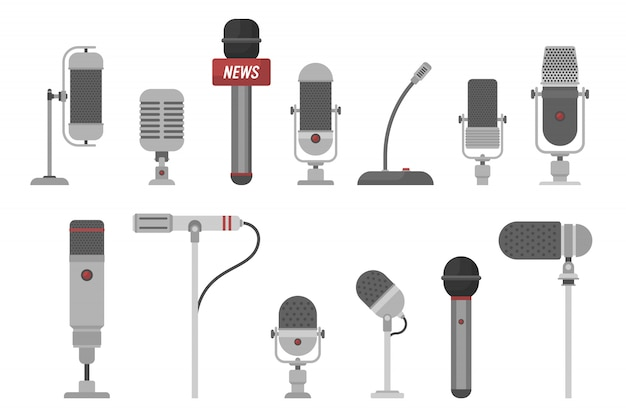 Set of different microphones illustration isolated on white