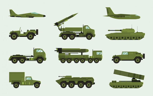 Set of different military transport. modern equipment collection fighting machine, air defense, car, truck, tank, armored vehicles, artillery pieces. illustration in flat style