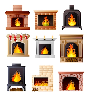 Set of different model of fireplace at room house or apartment