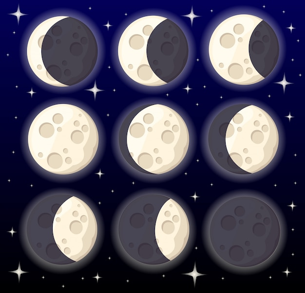 Set of different moon phases space object natural satellite of the earth  illustration  on style background web site page and mobile app