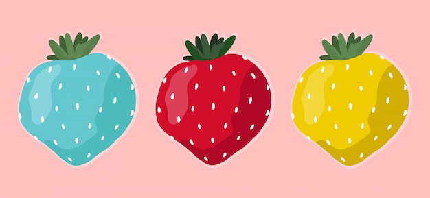 Set of different multi-colored strawberries