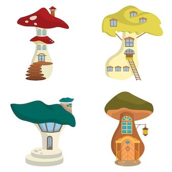 Set of different mushroom houses.