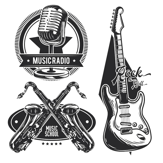 Set of different musical instruments emblems