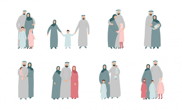 Set of different muslim families. arabian parents with kids in traditional islamic clothes. cartoon characters isolated on white background