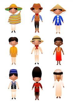 A set of different nationality men wearing traditional ethnic clothing.   illustration in flat cartoon style.