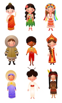 A set of different nationality women wearing traditional ethnic clothing.   illustration in flat cartoon style.