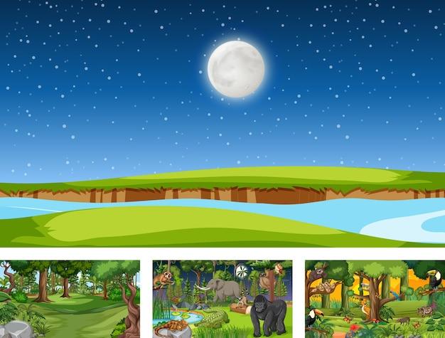 Set di scene orizzontali di natura diversa con vari animali selvatici
