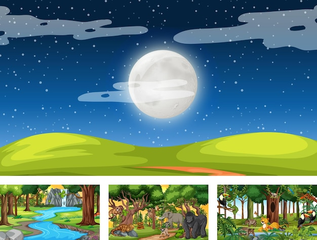 Set of different nature horizontal scene with various wild animals