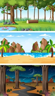Set of different nature horizontal scenes