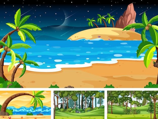 Set di scene orizzontali di diversa natura Vettore gratuito