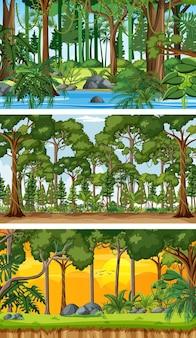 Set di scene orizzontali di diversa natura