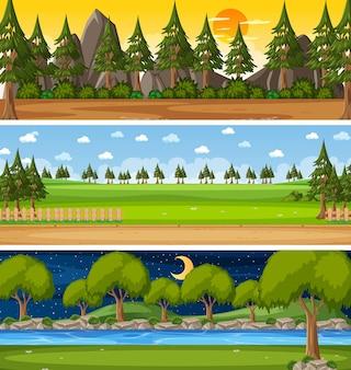 Set of different nature horizontal scenes