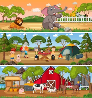 Set of different nature landscape at daytime scene with cartoon character