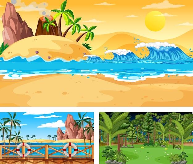 Set of different nature landscape scenes